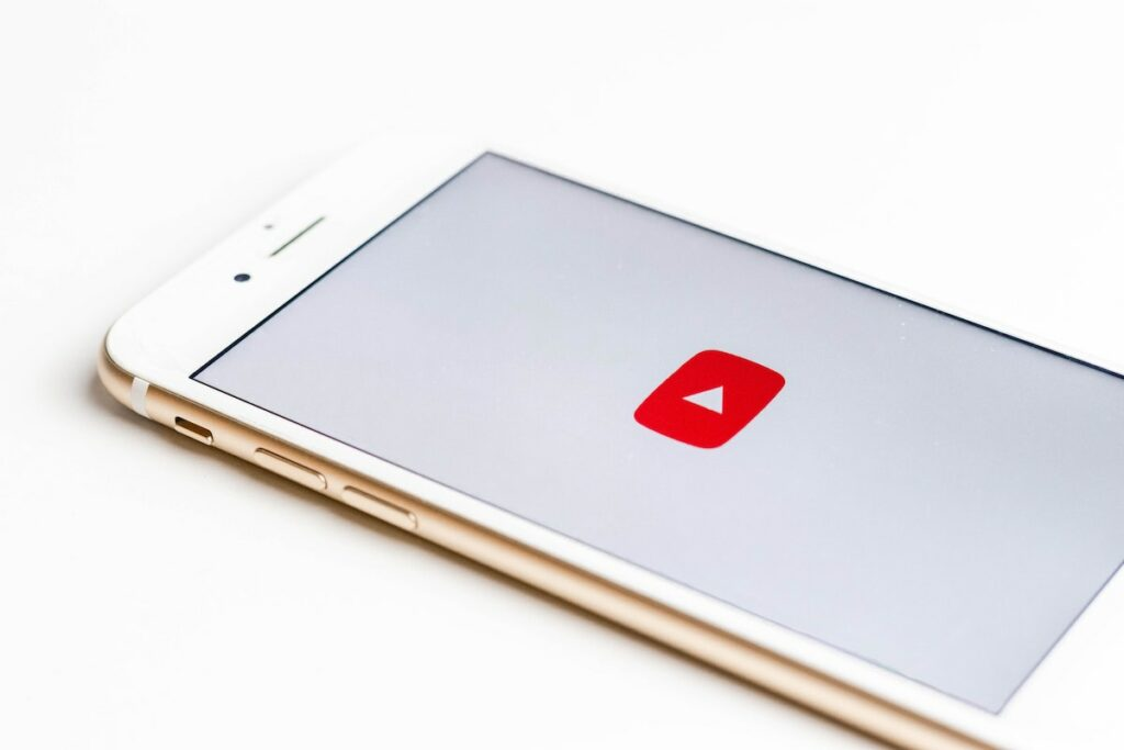 iPhone with YouTube app